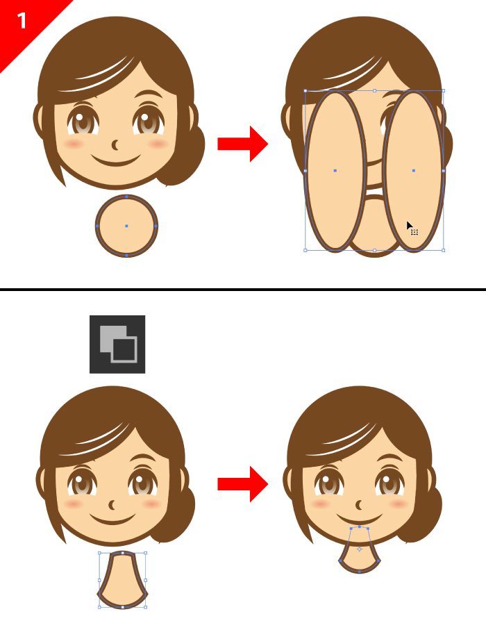 illustratorで描く体。パスファインダと楕円ツールを使う。