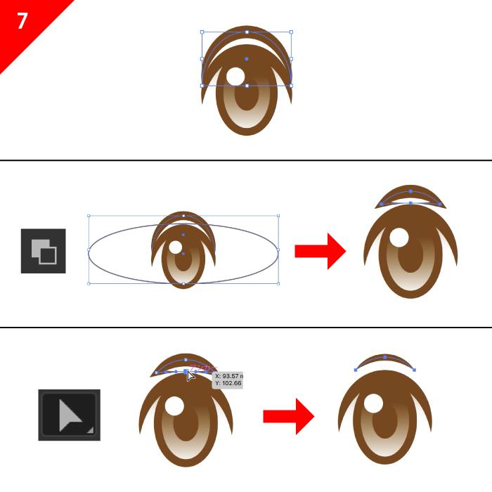 イラレのパスファインダの全面オブジェクトで型抜きを使いながら眉毛の作成