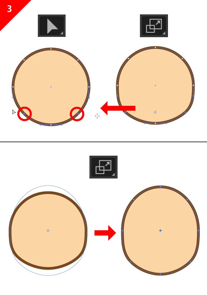 ダイレクト選択ツールを使って顔の調整をしていく図