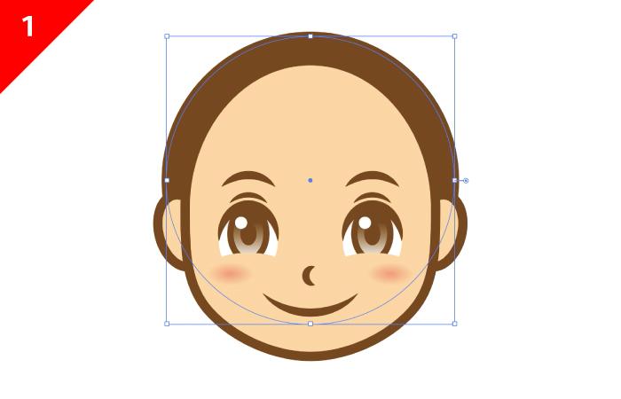 illustratorで髪の毛を描きます。