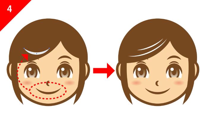 illustratorで作ったパーツを流用して髪の流れをつける