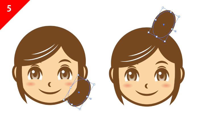 イラレの楕円ツールを使って、髪のお団子や後ろ髪を作成