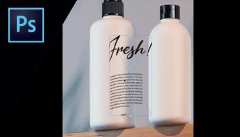 【Photoshop】パッケージデザイン 立体的なボトルにロゴを配置する方法