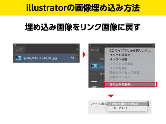 Illustratorの埋め込み画像をリンク画像にもどす方法