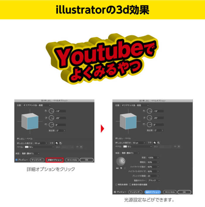 Illustratorの3D効果 詳細オプションで光源などを調整
