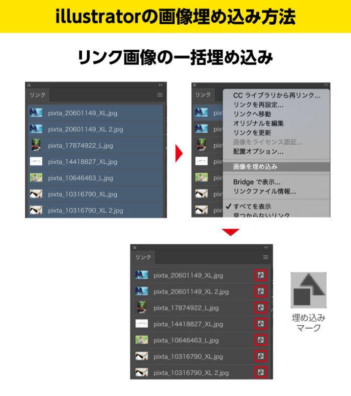 Illustrator画像の一括埋め込みはリンクパレットから画像を選択した状態で画像配置