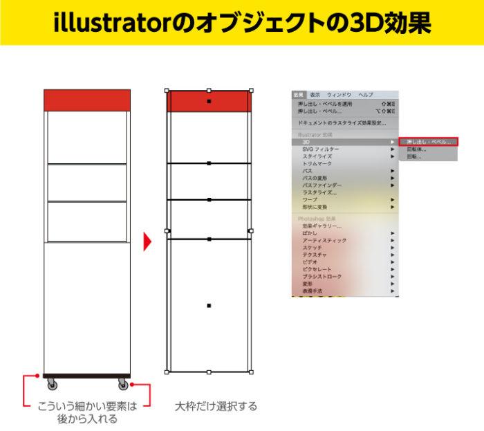 Illustratorで図面の大枠を設定し、効果から3Dから押し出し・ベベルを選択