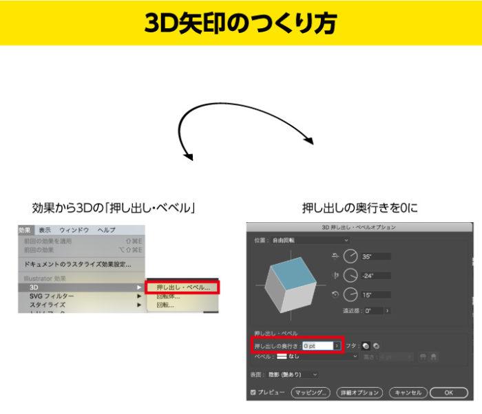 イラストレーターの矢印の3Dの押し出し・ベベルを適用