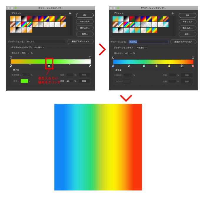 2色以上のグラデーションを作成