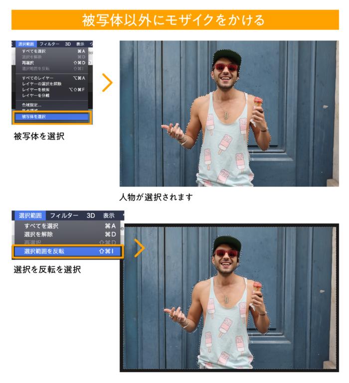 photoshop 人物以外にモザイクをかける方法