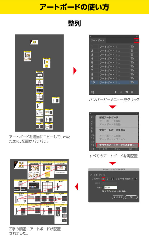 Illustratorアートボードの整列の方法