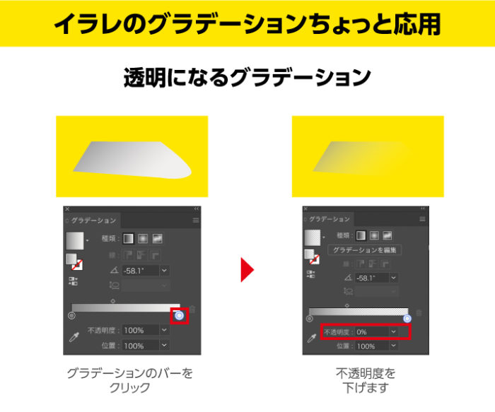 イラレのグラデーション応用 透明になるグラデーション グラデーションバーのカラーをクリックして透明度を下げる