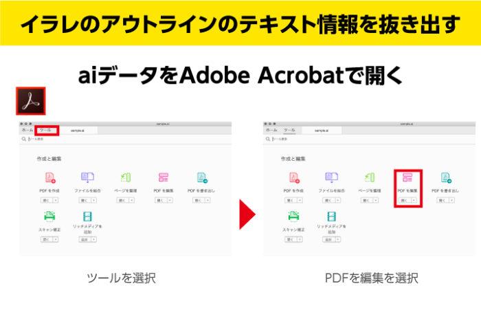 イラレのアウトライン解除できないができるだけテキストを抜き出す aiデータをAdobe Acrobatで開く