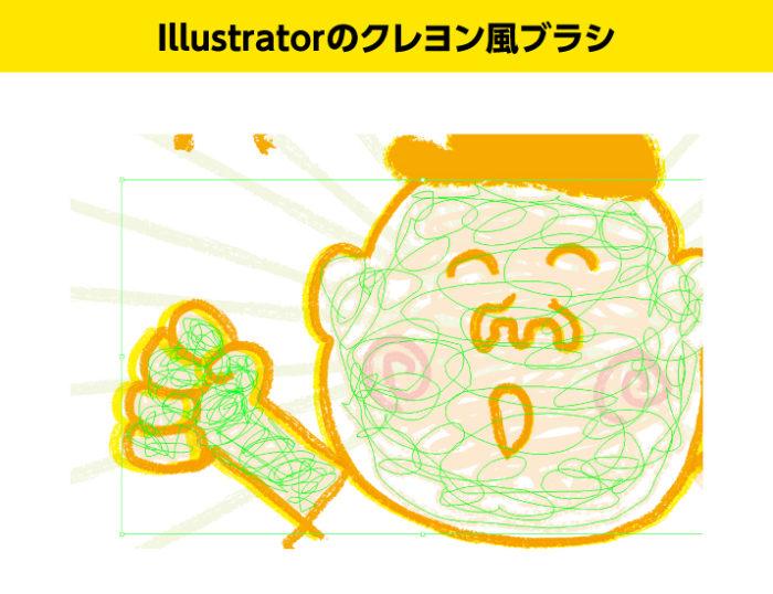 Illustratorのクレヨン風のブラシで描いたイラストの細部
