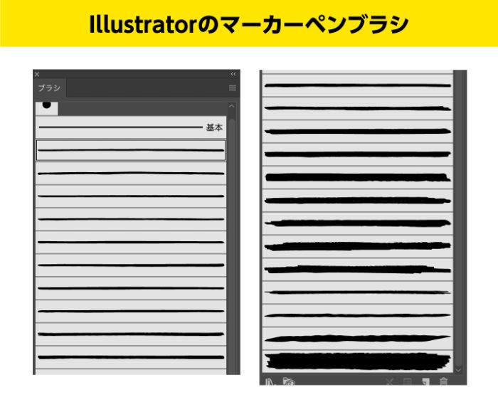 Illustratorのマーカーブラシの一覧