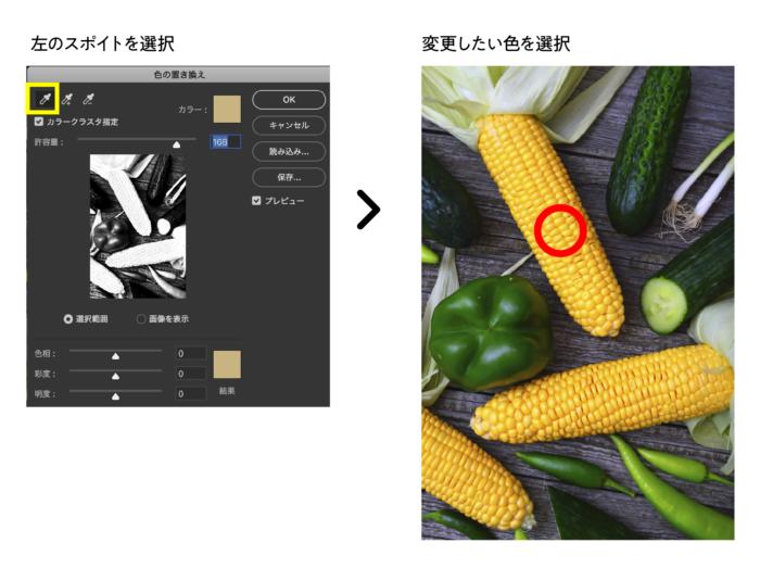 色の置き換え スポイトで置き換えたい箇所を選択