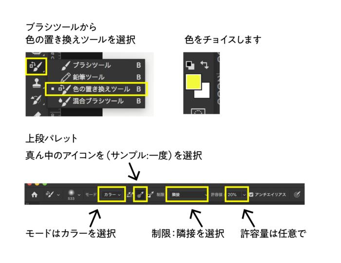 色の置き換えツール(ブラシ)で置き換える